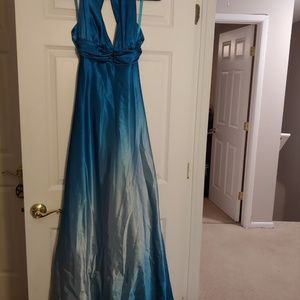 Teal with Silver Gown